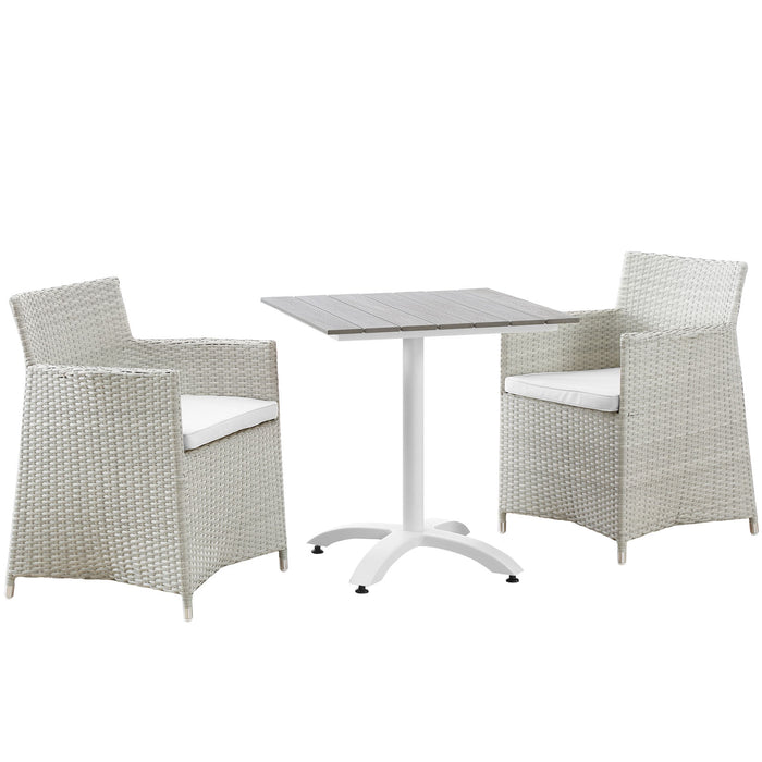 Junction 3 Piece Outdoor Patio Dining Set in Gray White by Modway