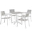 Maine 5 Piece Outdoor Patio Dining Set in White Light Gray by Modway