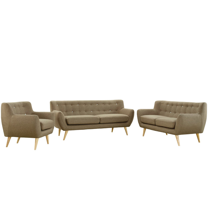 Remark 3 Piece Living Room Set in Brown by Modway
