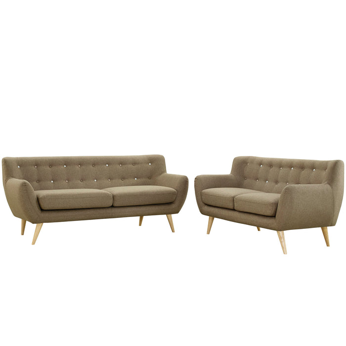 Remark 2 Piece Living Room Set in Brown by Modway