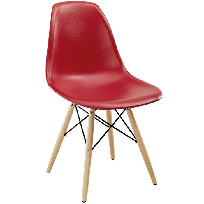 Pyramid Dining Side Chair in Red by Modway