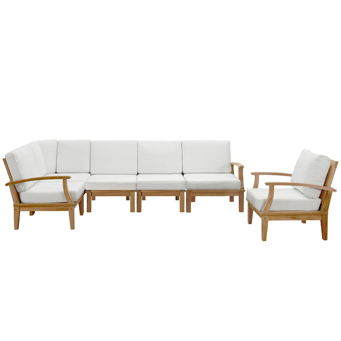 Marina 6 Piece Outdoor Patio Teak Set in Natural White by Modway