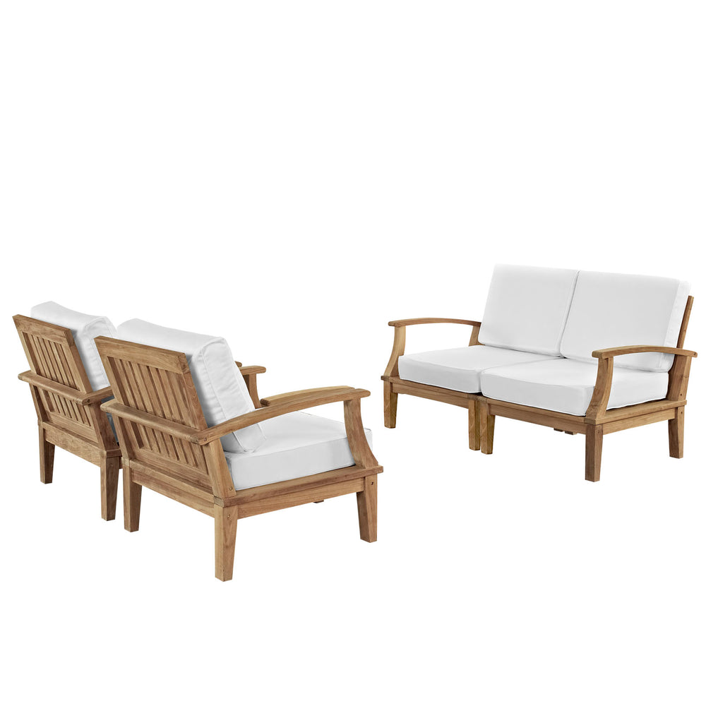Marina 4 Piece Outdoor Patio Teak Set in Natural White by Modway
