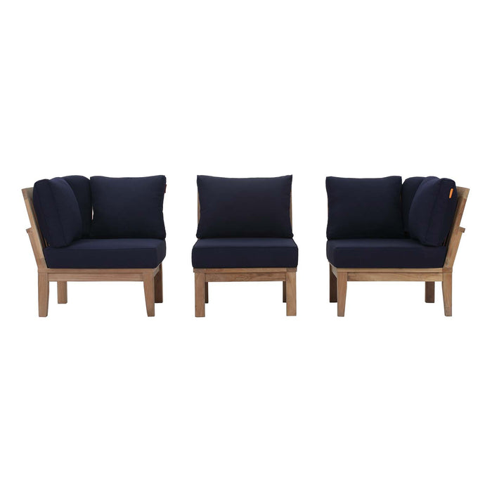 Marina 3 Piece Outdoor Patio Teak Set in Natural Navy by Modway