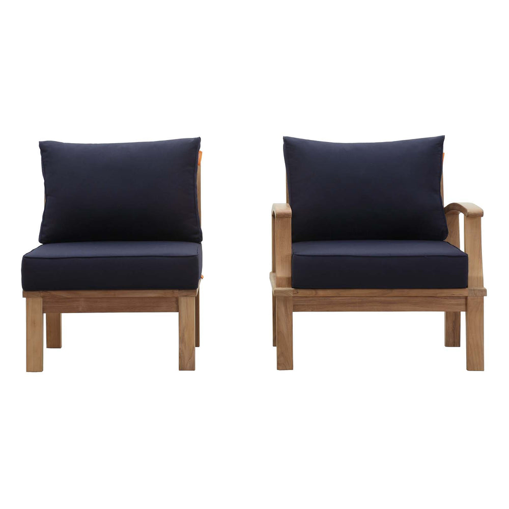 Marina 2 Piece Outdoor Patio Teak Set in Natural Navy by Modway