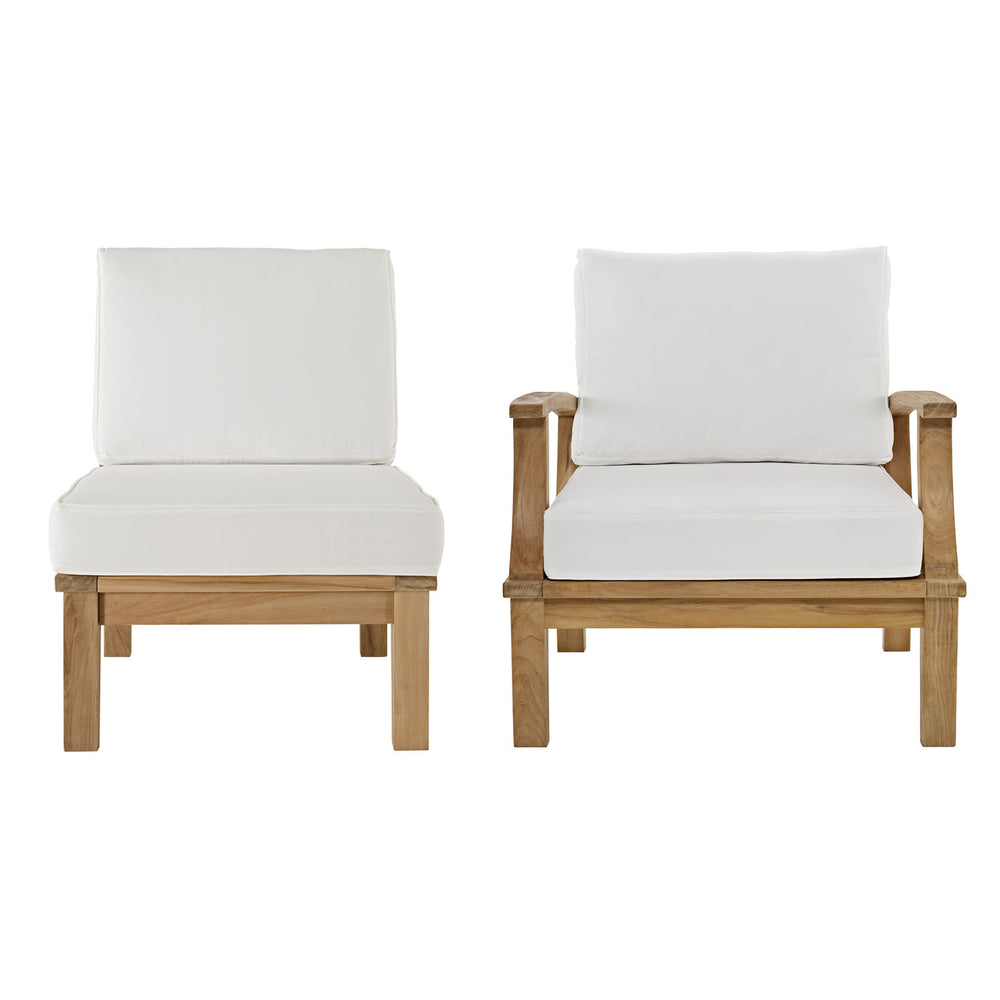 Marina 2 Piece Outdoor Patio Teak Set in Natural White by Modway