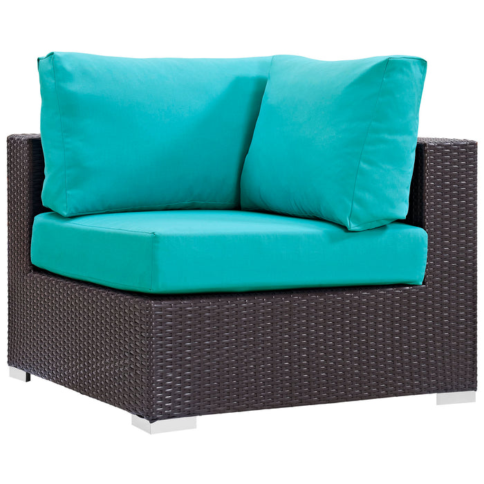 Convene Outdoor Patio Corner in Espresso Turquoise by Modway