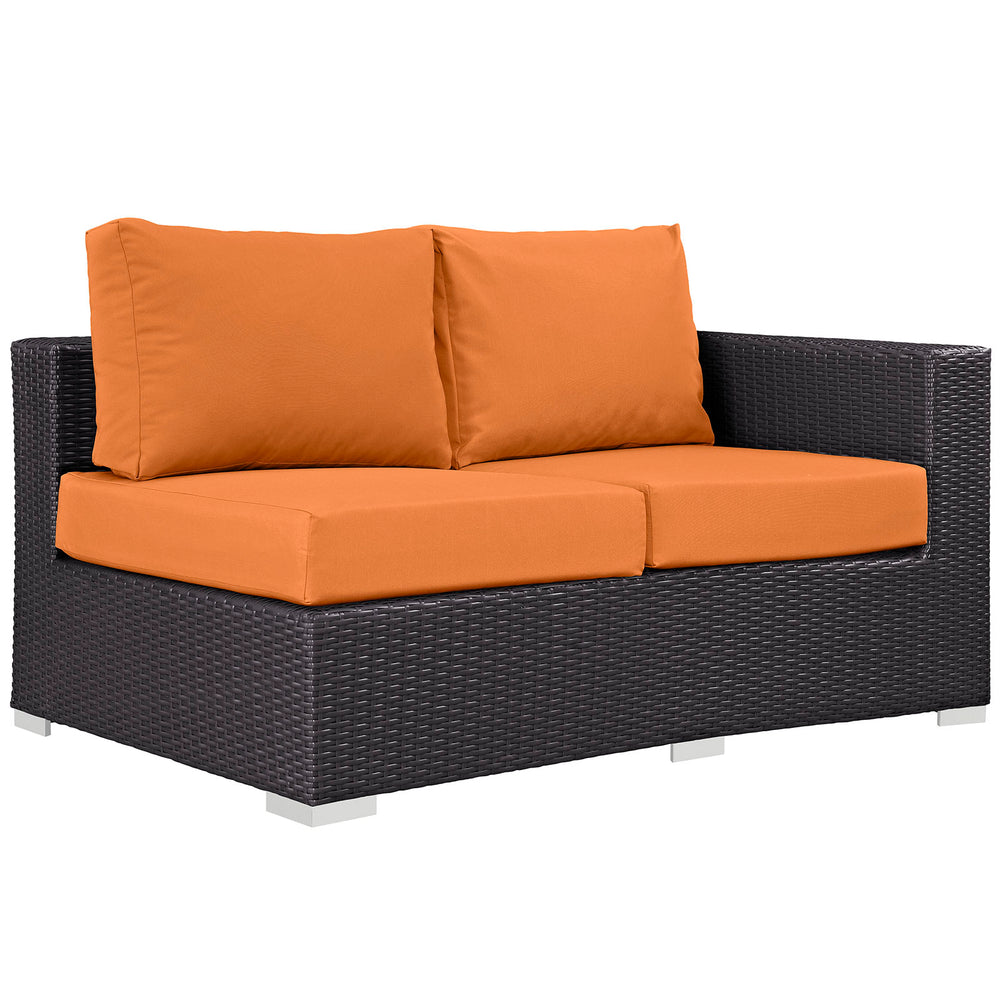 Convene Outdoor Patio Right Arm Loveseat in Espresso Orange by Modway