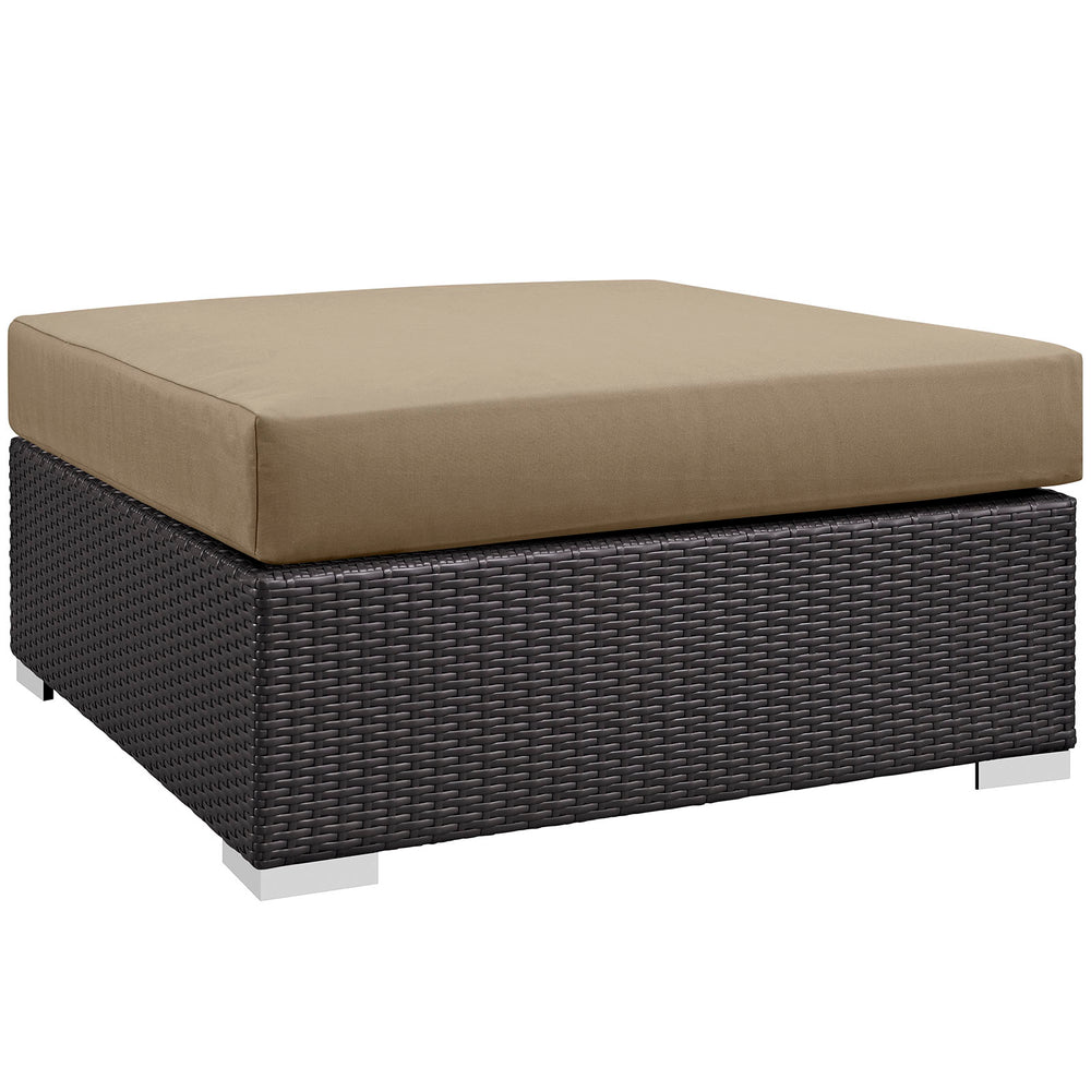 Convene Outdoor Patio Large Square Ottoman in Espresso Mocha by Modway