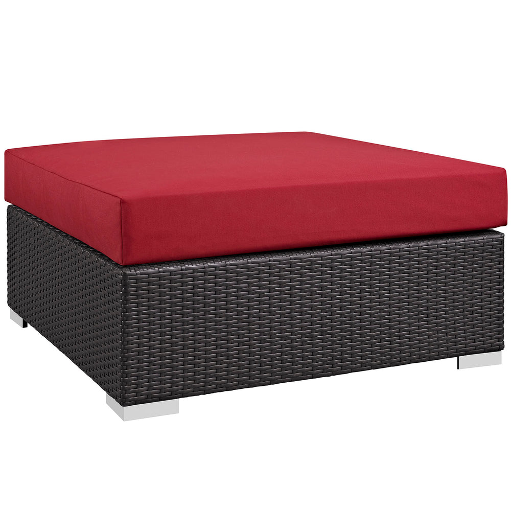Convene Outdoor Patio Large Square Ottoman in Espresso Red by Modway