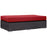 Convene Outdoor Patio Fabric Rectangle Ottoman in Espresso Red by Modway