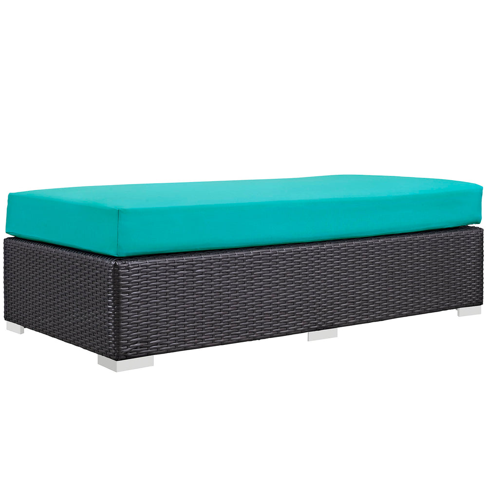 Convene Outdoor Patio Fabric Rectangle Ottoman in Espresso Turquoise by Modway