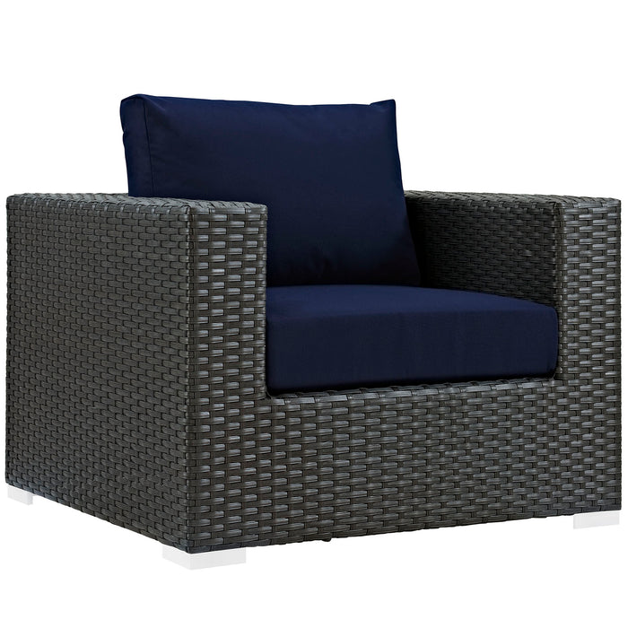 Sojourn Outdoor Patio Sunbrella Armchair in Canvas Navy by Modway