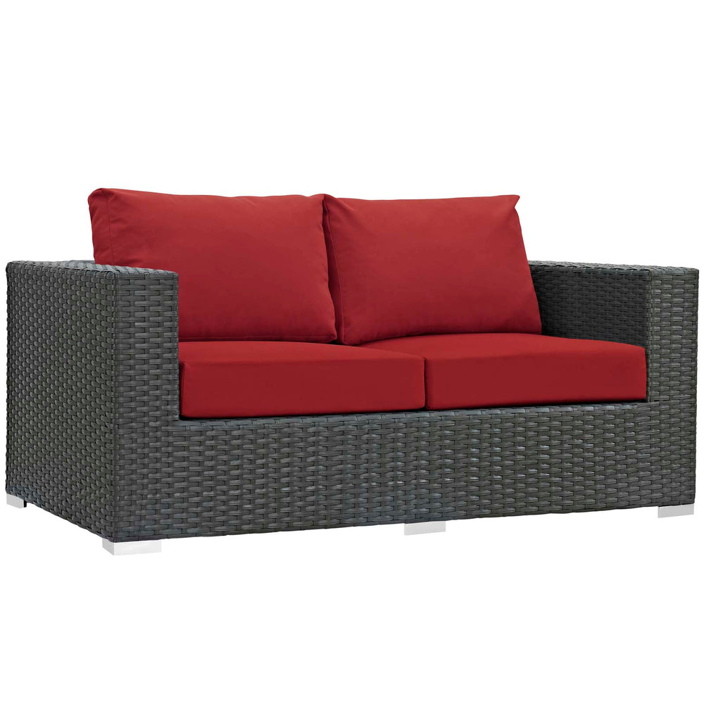 Sojourn Outdoor Patio Sunbrella Loveseat in Canvas Red by Modway