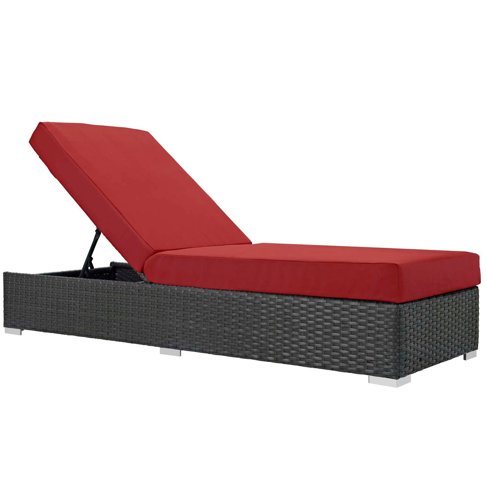 Sojourn Outdoor Patio Sunbrella Chaise Lounge in Canvas Red by Modway