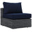 Summon Outdoor Patio Sunbrella Armless in Canvas Navy by Modway