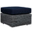 Summon Outdoor Patio Sunbrella Ottoman in Canvas Navy by Modway