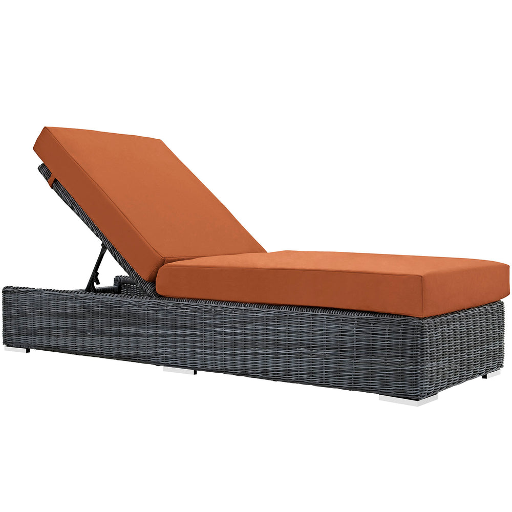 Summon Outdoor Patio Sunbrella Chaise Lounge in Canvas Tuscan by Modway
