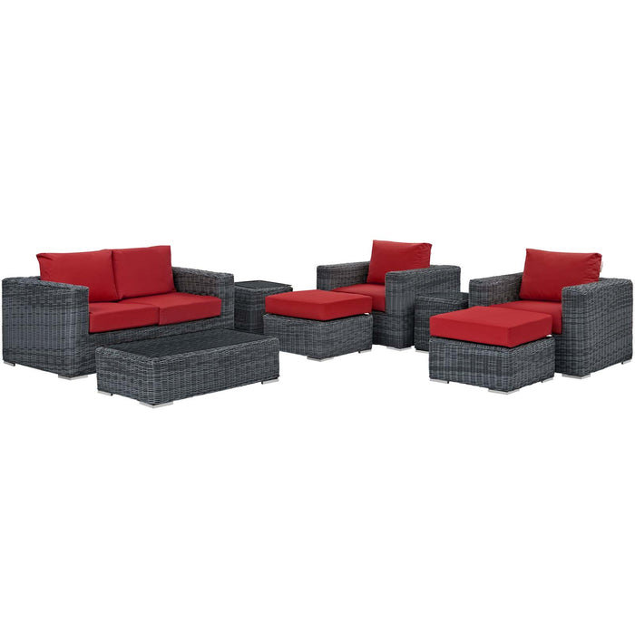 Summon 8 Piece Outdoor Patio Sunbrella Sectional Set in Canvas Red by Modway