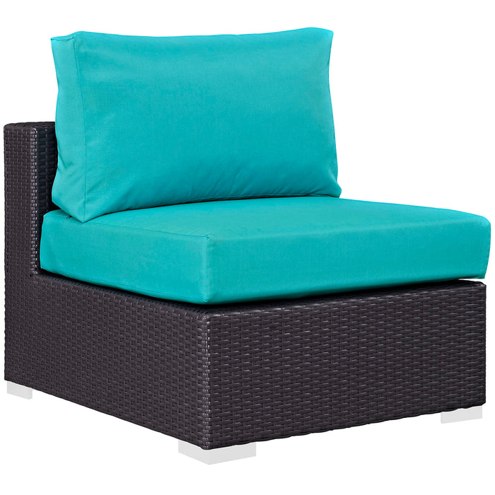Convene Outdoor Patio Armless in Espresso Turquoise by Modway