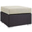 Convene Outdoor Patio Fabric Square Ottoman in Espresso Beige by Modway