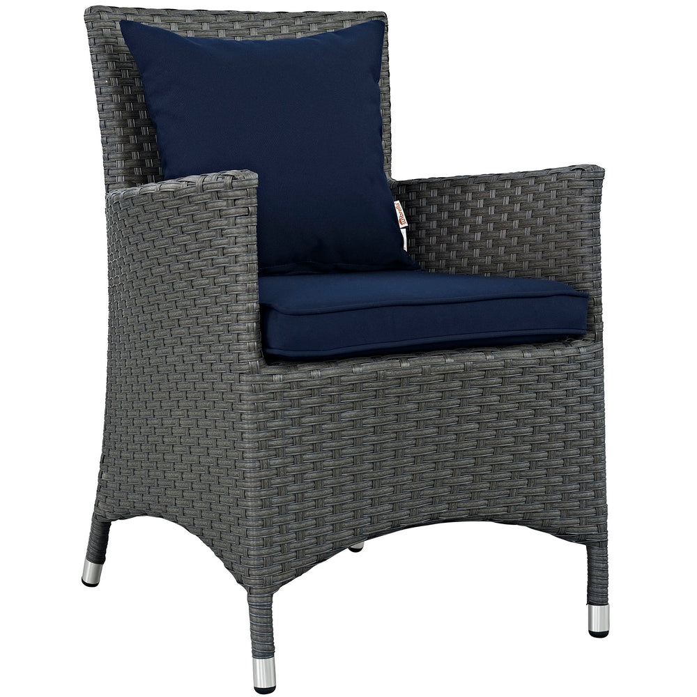 Sojourn Dining Outdoor Patio Sunbrella Armchair in Canvas Navy by Modway