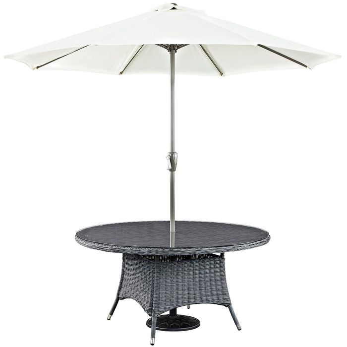 "Summon 59"" Round Outdoor Patio Dining Table in Gray by Modway"