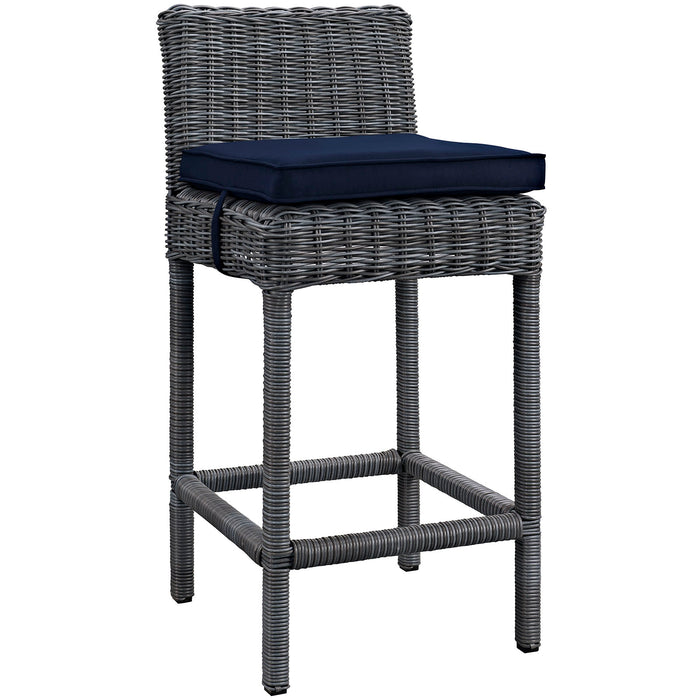 Summon Outdoor Patio Sunbrella Bar Stool in Canvas Navy by Modway