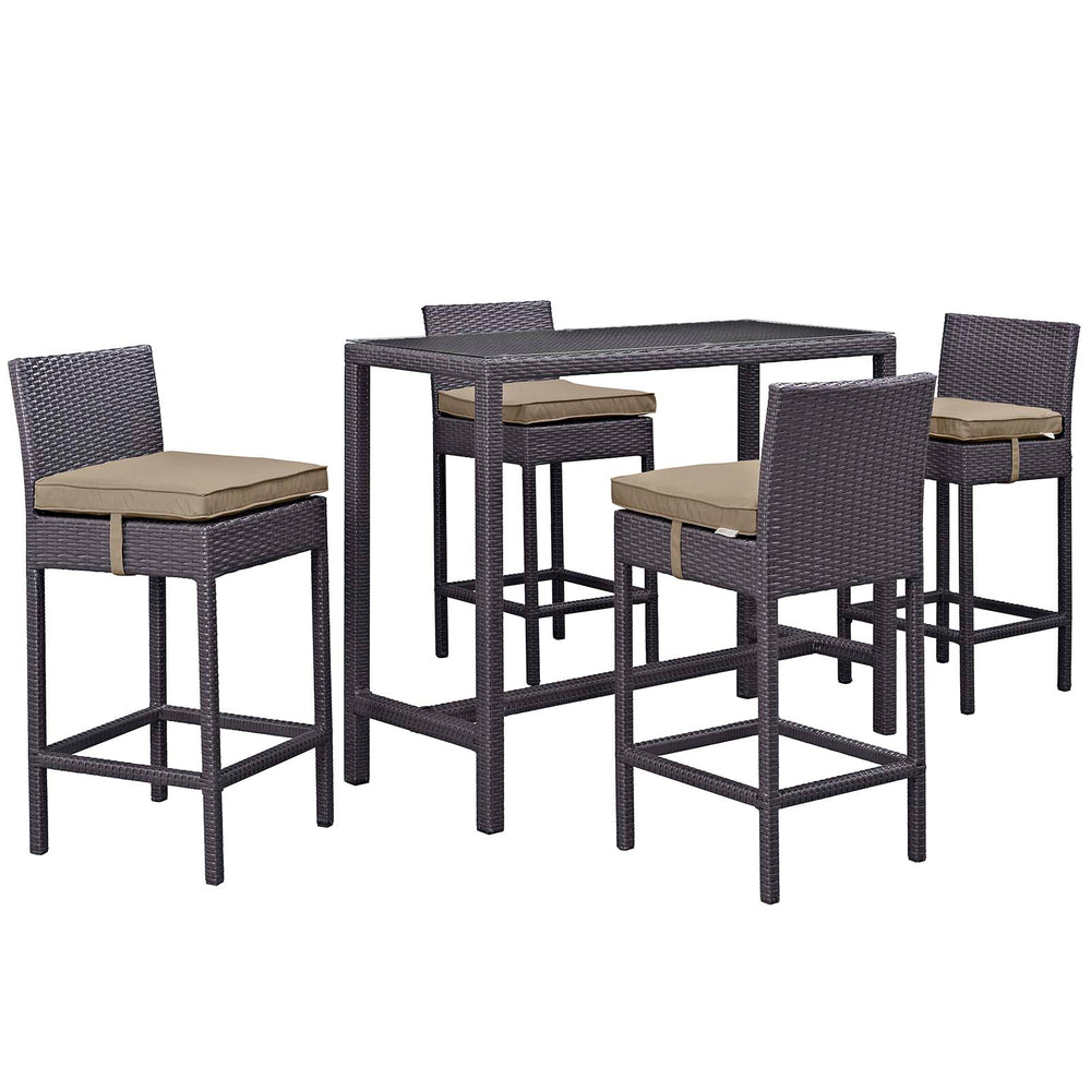 Convene 5 Piece Outdoor Patio Pub Set in Espresso Mocha by Modway