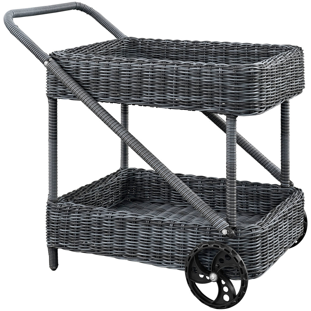 Summon Outdoor Patio Beverage Cart in Gray by Modway