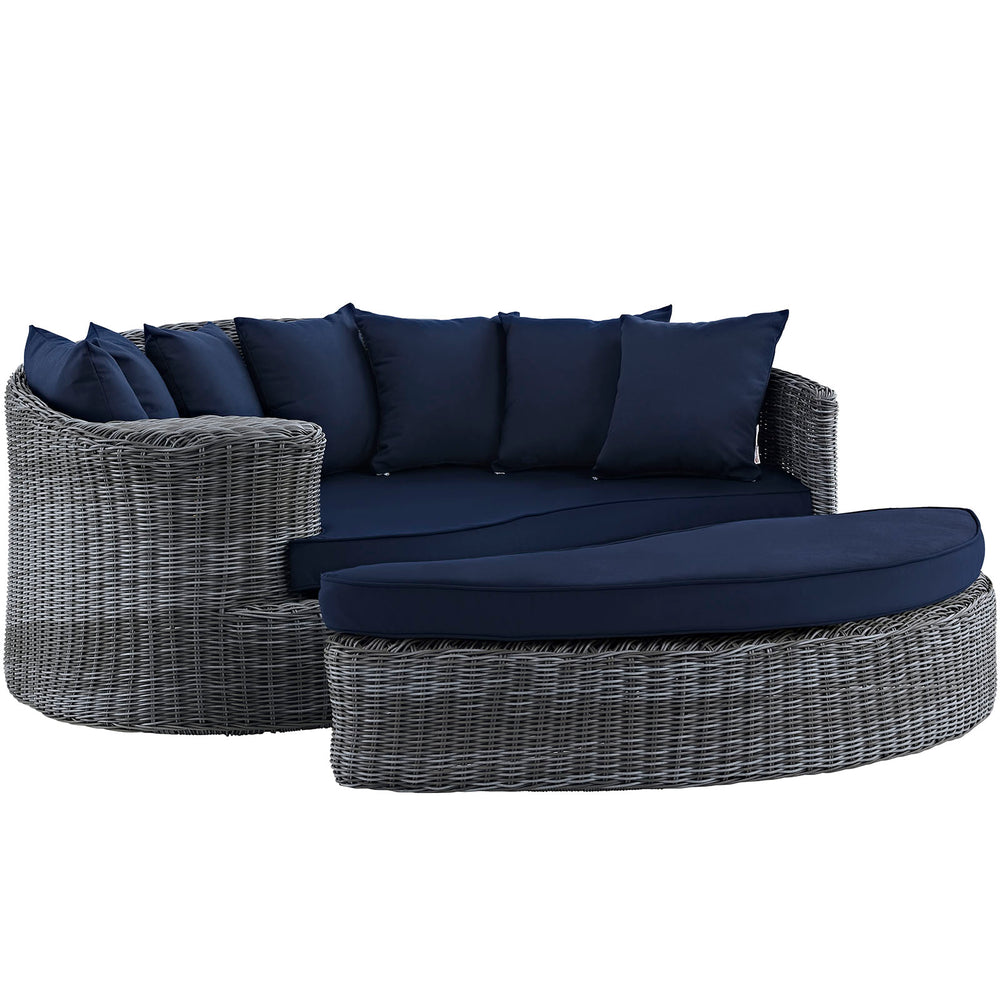 Summon Outdoor Patio Sunbrella Daybed in Canvas Navy by Modway