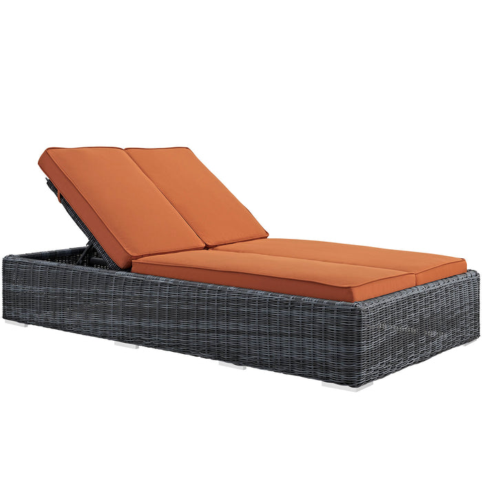 Summon Double Outdoor Patio Sunbrella Chaise in Tuscan by Modway