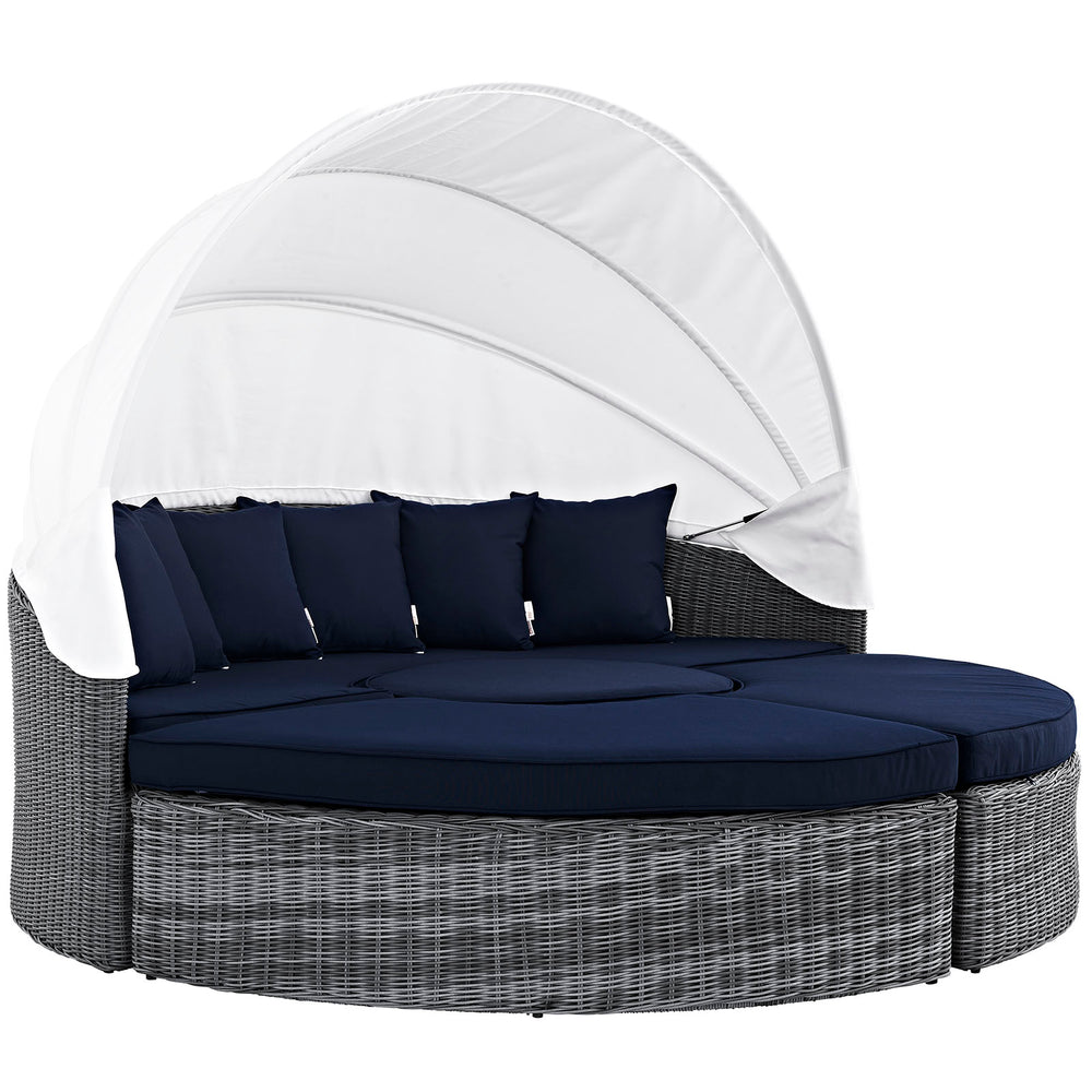 Summon Canopy Outdoor Patio Sunbrella Daybed in Canvas Navy by Modway