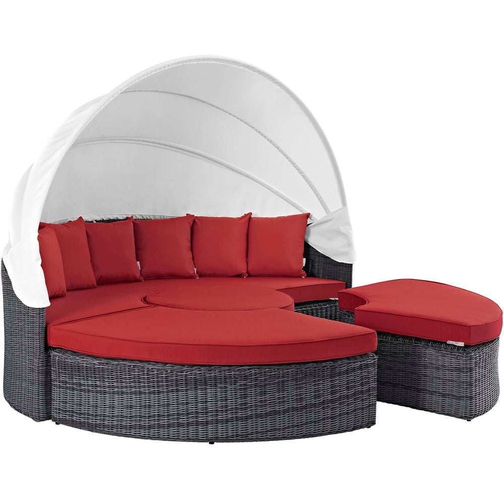 Summon Canopy Outdoor Patio Sunbrella Daybed in Canvas Red by Modway