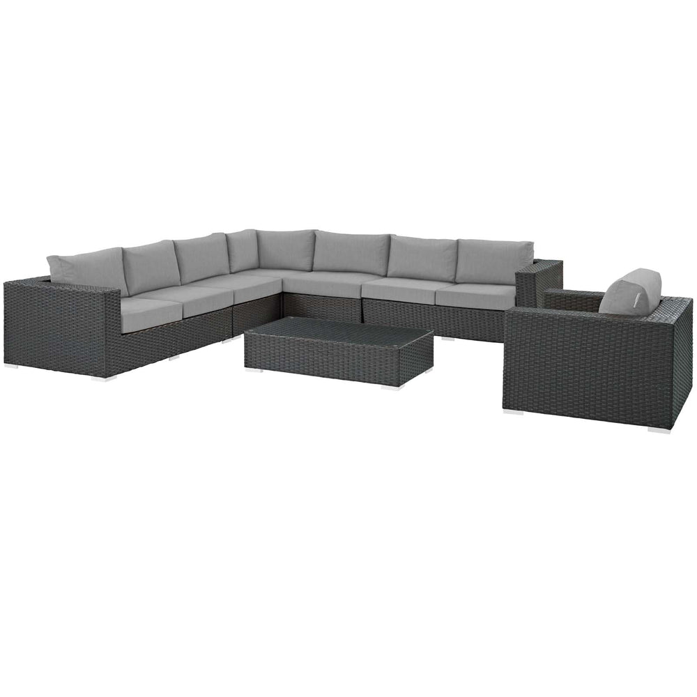 Sojourn 7 Piece Outdoor Patio Sunbrella Sectional Set in Canvas Gray by Modway