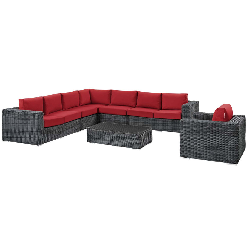 Summon 7 Piece Outdoor Patio Sunbrella Sectional Set in Canvas Red by Modway