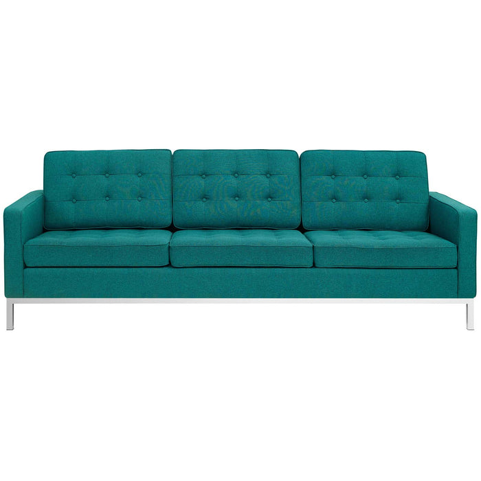 Loft Upholstered Fabric Sofa in Teal by Modway