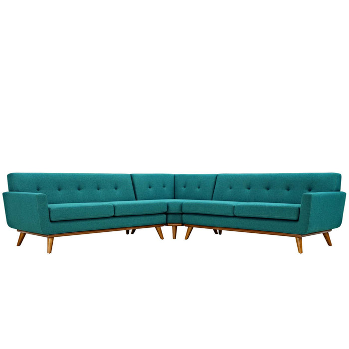Engage L-Shaped Sectional Sofa in Teal by Modway