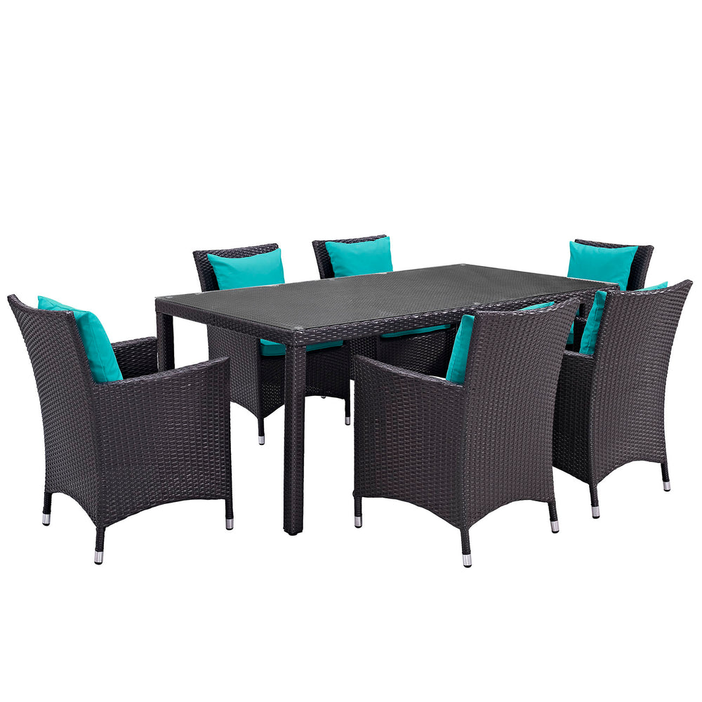 Convene 7 Piece Outdoor Patio Dining Set in Espresso Turquoise by Modway
