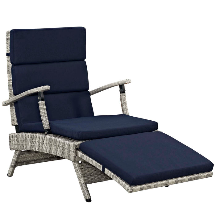 Astounding Modway Envisage Chaise Outdoor Patio Wicker Rattan Lounge Chair In Light Gray Navy Pabps2019 Chair Design Images Pabps2019Com