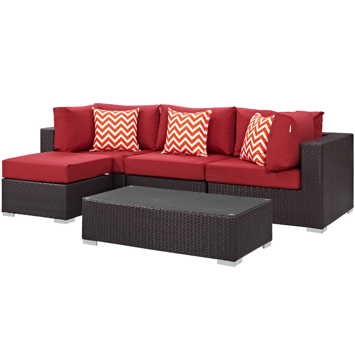 Convene 5 Piece Outdoor Patio Sectional Set in Espresso Red by Modway