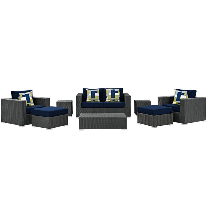 Sojourn 8 Piece Outdoor Patio Sunbrella Sectional Set in Canvas Navy by Modway