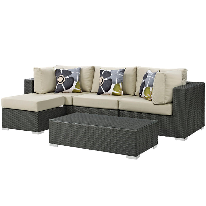 Sojourn 5 Piece Outdoor Patio Sunbrella Sectional Set in Canvas Antique Beige by Modway