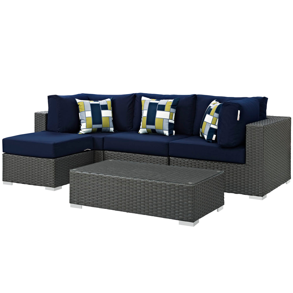 Sojourn 5 Piece Outdoor Patio Sunbrella Sectional Set in Canvas Navy by Modway