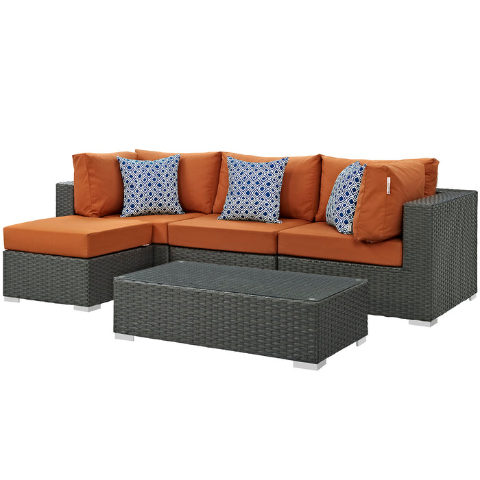 Sojourn 5 Piece Outdoor Patio Sunbrella Sectional Set in Canvas Tuscan by Modway
