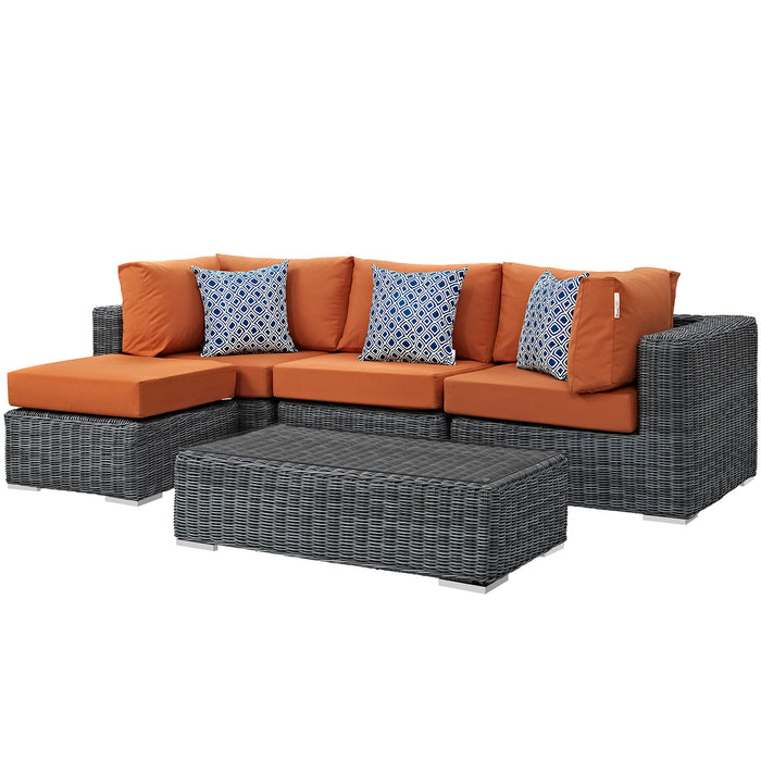 Summon 5 Piece Outdoor Patio Sunbrella Sectional Set in Canvas Tuscan by Modway