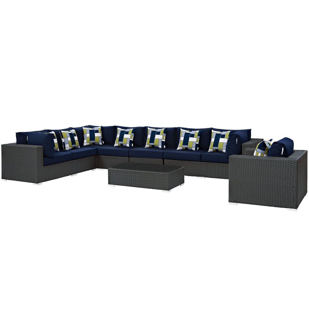 Sojourn 7 Piece Outdoor Patio Sunbrella Sectional Set in Chocolate Navy by Modway