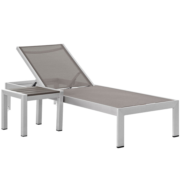 Modway Shore 2 Piece Outdoor Patio Aluminum Set in Silver Gray