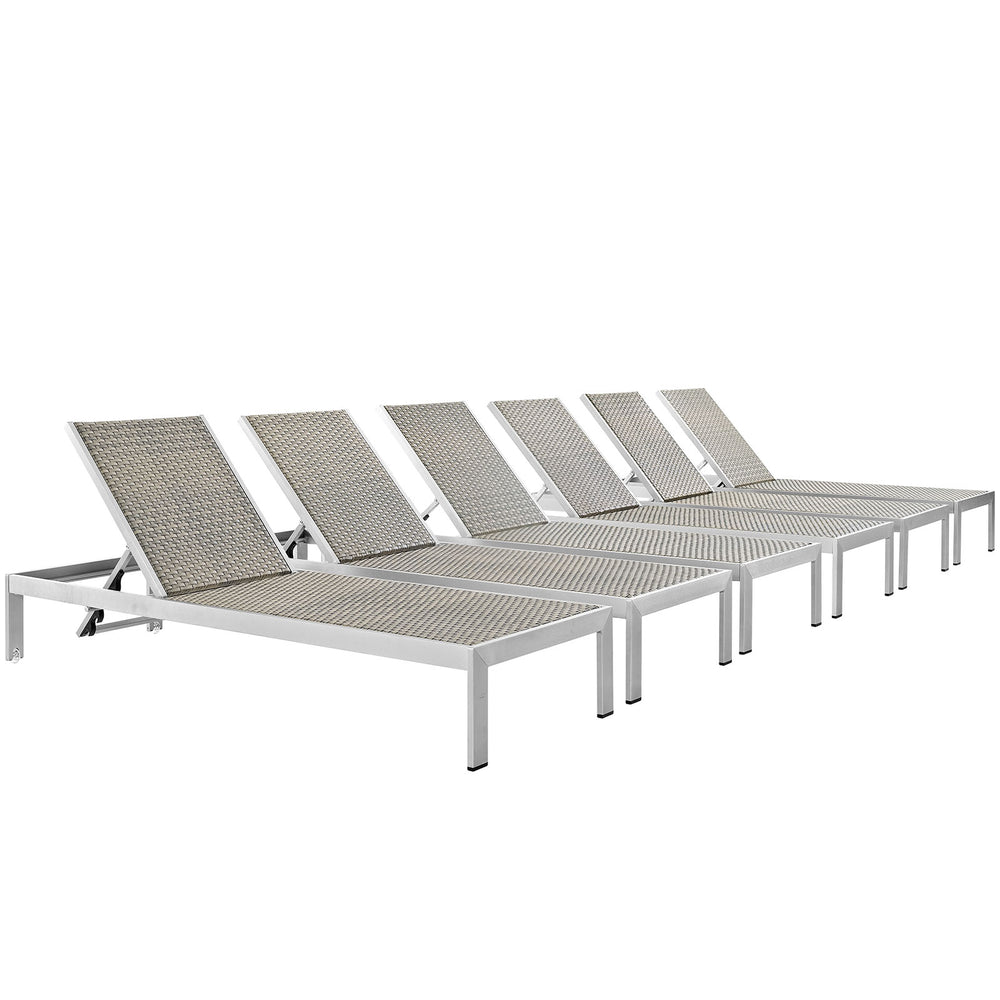 Modway Shore Chaise Outdoor Patio Aluminum Set of 6 in Silver Gray