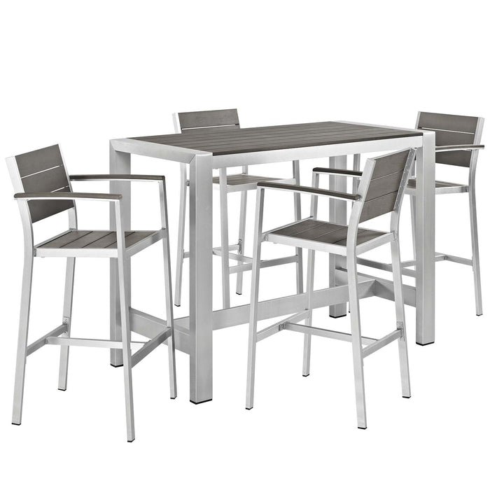 Modway Shore 5 Piece Outdoor Patio Aluminum Dining Set in Silver Gray
